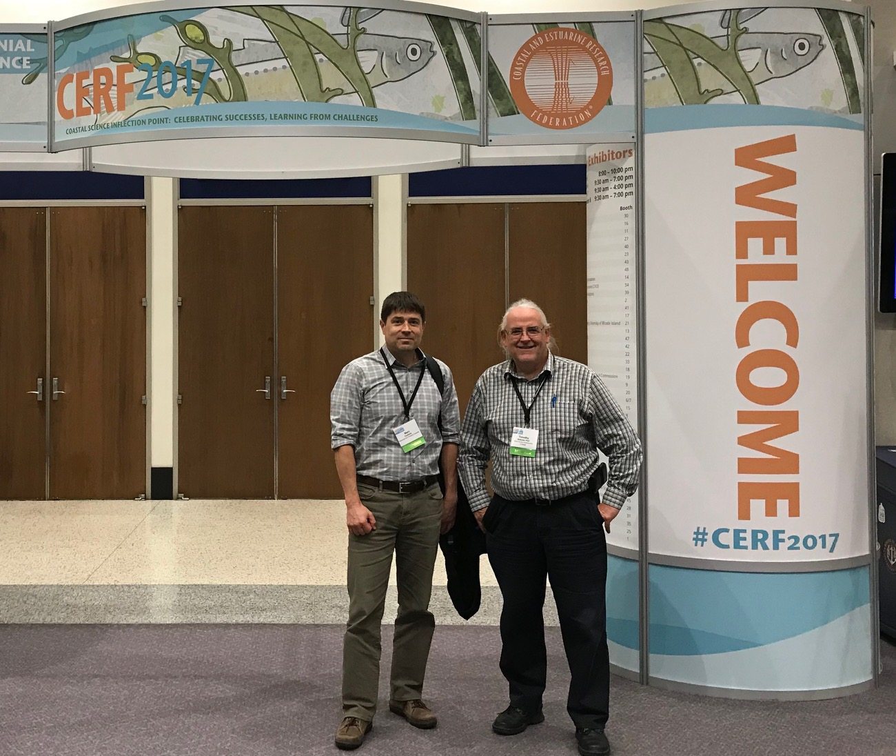Dr. Tim Webster and Marc Ouellette of DFO Gulf Region at the Coastal and Estuarine Research Federation 24th Biennial Conference in Providence, Rhode Island.
