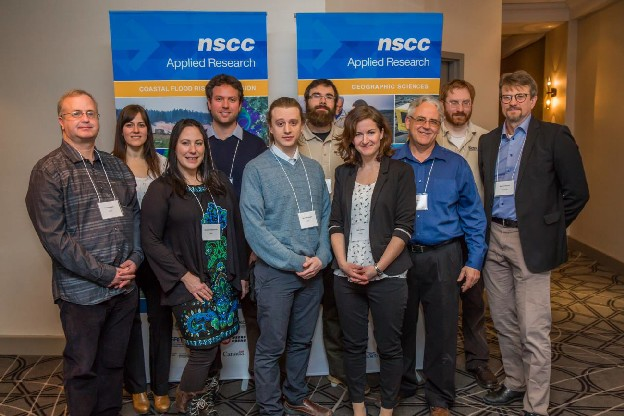 Candace MacDonald, Nathan Crowell, Kevin McGuigan, Matt Roscoe, Kate Collins, Tim Webster, and David Kristiansen along with Anders Ekelund of Leica Geosystems.
