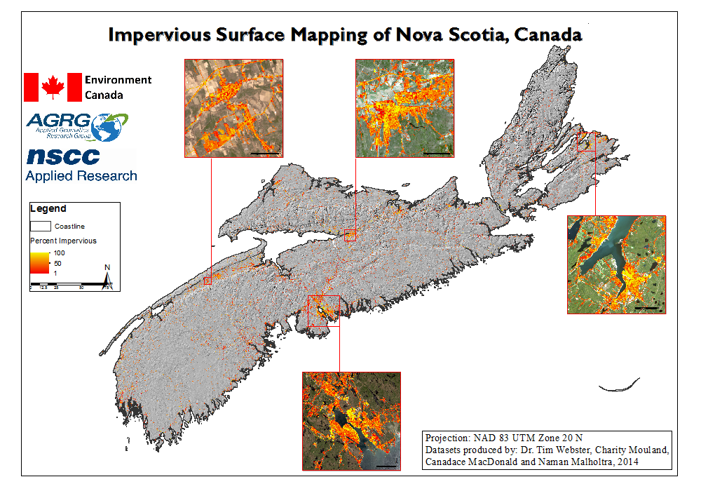 Example of Nova Scotia Impervious Surface data on a map